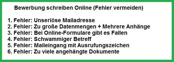 Bewerbung schreiben Online-Formular