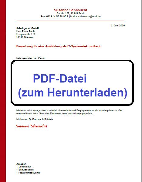 PDF-Datei Bewerbung schreiben