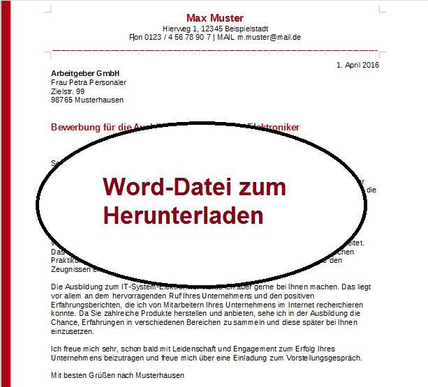 Word Bewerbung schreiben