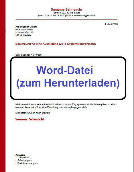 Word-Datei Bewerbung schreiben